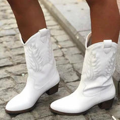 Women's PU Chunky Heel Boots Mid-Calf Boots With Buckle shoes