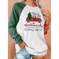 Drucken Farbblock Rundhals Lange Ärmel Weihnachts-Sweatshirt