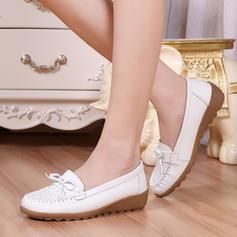 Femmes Similicuir Talon bas Chaussures plates Bout fermé avec Bowknot chaussures