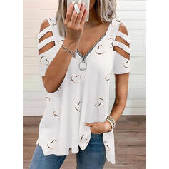 Heart Print Cold Shoulder Short Sleeves T-shirts