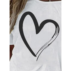 Print En-axels 1/2 Ärmar Fritids T-shirts
