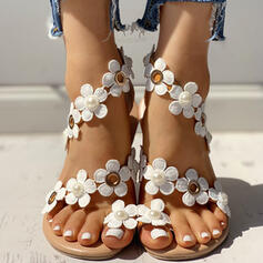 Women's PU Flat Heel Sandals Flats Toe Ring With Flower shoes