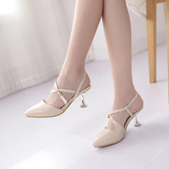 Women's Leatherette Stiletto Heel Pumps Closed Toe Slingbacks With Buckle Elastic Band shoes