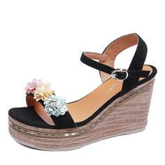 De mujer Ante Tipo de tacón Sandalias Encaje con Hebilla Flor zapatos