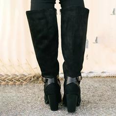 Femmes PU Talon bottier Bottes hautes avec Boucle Zip chaussures