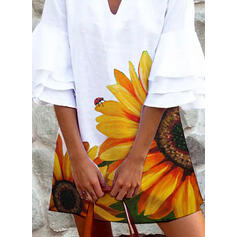 Sunflower Print 1/2 Sleeves/Flare Sleeves Shift Above Knee Casual/Vacation Dresses