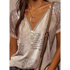 Print Sequins Letter V-Neck Short Sleeves Casual Blouses