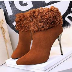 Femmes Suède Talon stiletto Escarpins Bout fermé Bottes Martin bottes avec Fausse Fourrure chaussures