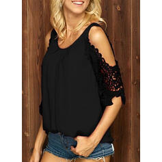 Solid Lace Cold Shoulder 1/2 Sleeves Casual Blouses