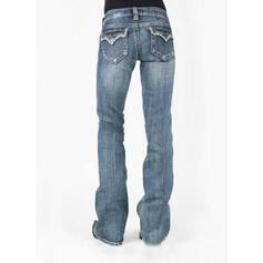 Pockets Shirred Plus Size Long Elegant Sexy Denim & Jeans