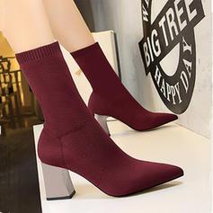 Frauen Mesh Stämmiger Absatz Absatzschuhe Geschlossene Zehe Stiefel Stiefel-Wadenlang mit Zuschnüren Kristallabsatz Schuhe