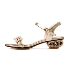 Femmes Vrai cuir Talon bas Sandales Escarpins avec Strass chaussures