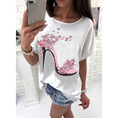 Print Floral Round Neck 1/2 Sleeves Casual T-shirts
