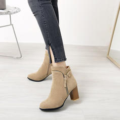 Femmes Suède Talon bottier Escarpins Bottes Bottines avec Zip Chaîne chaussures