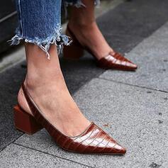 Vrouwen PU Chunky Heel Puntige teen met Dier Afdrukken schoenen
