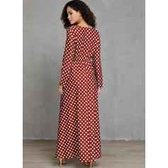 PolkaDot Long Sleeves A-line Skater Casual Midi Dresses