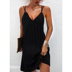 Sólido Sin mangas Vestidos sueltos Sobre la Rodilla Pequeños Negros/Elegante Camisón Vestidos