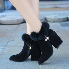 Kvinner Stoff Stor Hæl Ankelstøvler med Spenne sko
