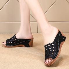 Mulheres Couro Plataforma Sandálias Plataforma Peep toe Chinelos com Oca-out sapatos