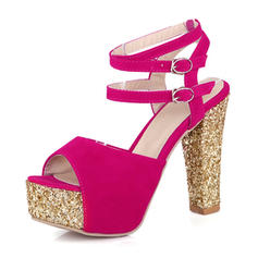 Women's Suede Chunky Heel Sandals Pumps Platform With Buckle shoes