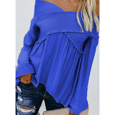 Solide Off the Shoulder Lange Mouwen Casual Overhemd