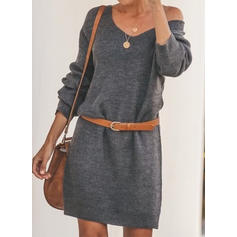 Solid One Shoulder Sweater Dress