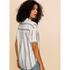 Striped V Neck Short Sleeves Casual Blouses
