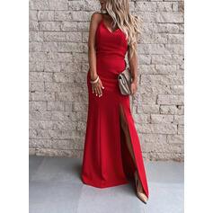 Solid Sleeveless Sheath Slip Sexy/Party Maxi Dresses