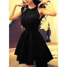 Solid Sleeveless A-line Above Knee Vintage/Little Black/Party/Elegant Dresses