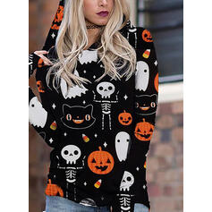 Print Halloween Long Sleeves Hoodie