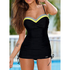 Splice color Drawstring Strap Sports Tankinis Swimsuits