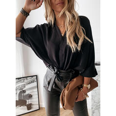 Solid V-Neck Batwing Sleeve 3/4 Sleeves Casual Blouses