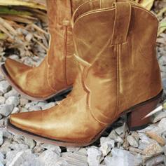 Kvinner PU Lav Hæl Støvler med Spenne Glidelås sko