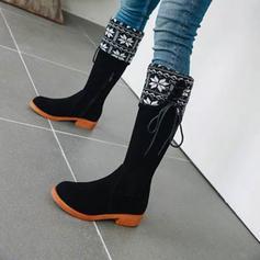 Női Műbőr Chunky sarok Mid-Calf Csizma -Val Cipzár Lace-up cipő