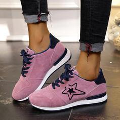 Donna Camoscio Senza tacco Ballerine Sneakers con Allacciato Colore giuntura scarpe