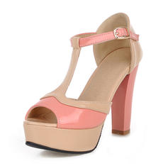 Women's Leatherette Chunky Heel Sandals Platform With Buckle shoes