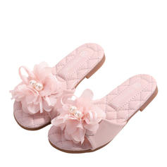 Girl's Leatherette Round Toe Flats With Bowknot