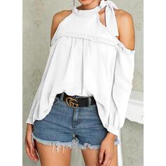 Solide Cold Shoulder Lange Mouwen Casual T-shirts