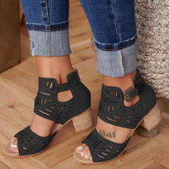 Women's PU Chunky Heel Sandals Pumps Peep Toe Heels With Buckle shoes