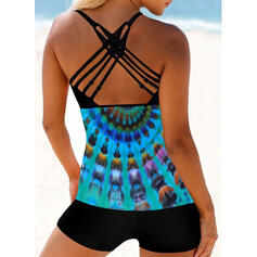 Print Strap U-Neck Sexy Vintage Fresh Tankinis Swimsuits