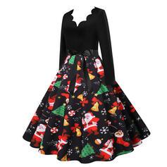 Print Long Sleeves A-line Knee Length Christmas/Party Skater Dresses