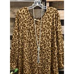 Leopard V-Ausschnitt Lange Ärmel Freizeit Blusen