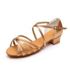 Kids' Latin Sandals Flats Satin With Bowknot Latin