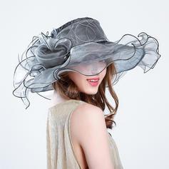 Ladies' Classic/Handmade Cambric/Organza With Silk Flower Beach/Sun Hats