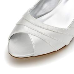 Frauen Satin Niederiger Absatz Peep Toe Sandalen Färbbare Schuhe