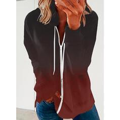 Gradient Lapel Długie rękawy Bluza