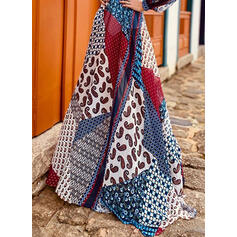 Print/Patchwork/Backless Long Sleeves A-line Skater Sexy/Vacation Maxi Dresses