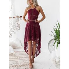 Koronka/Jednolita Bez rękawów W kształcie litery A Asymetryczna Seksowna/Przyjęcie Sukienki
