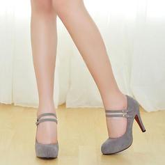 Frauen Veloursleder Absatzschuhe Plateauschuh Geschlossene Zehe mit Schnalle Schuhe