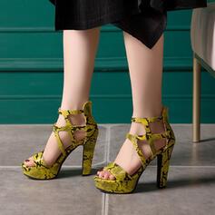 Mulheres PU Salto robusto Sandálias Peep toe com Zíper sapatos